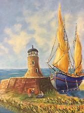 Huile sur toile marine phare bateau