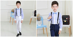 Formal Boy Kids Suit Set Outfits Wedding Party Outfits Pants+Shirt+Bow tie 4Pcs