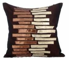 Silk Designer 26x26 inch Euro Pillow Sham Brown, Metallic - Metallic Ladder