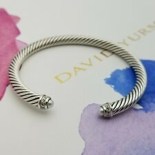 David Yurman Classic Sterling Silver 5mm Pearl & Diamond Bracelet Bangle