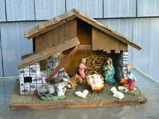 Vintage Italy Nativity Stable Baby Jesus Animals~Wisemen Old Christmas