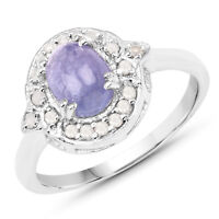 1.92 Ct Genuine Tanzanite & Diamond Engagement Band in 925 Sterling Silver Ring