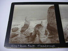 c1890s KING & QUEEN ROCK - FLAMBOROUGH Yorkshire STEREOVIEW PHOTO
