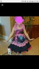 Custom OOAK girls pageant babydoll dress galaxy blue pink 4-6 glitz