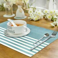 Set of 6 PVC Placemats Heat Resistant Table Mats Non-Slip Washable Blue