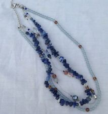 Glass And Sodalite Bead Necklace Sterling Clasp And Findings