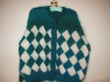 HAND KNITTED CARDIGAN,BASKETWEAVE,BRAND NEW,DONE IN PATONS LUXURY MOHAIR,SALE