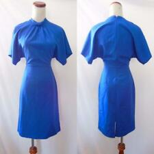 NEW JULIET ROSES Royal Blue RUFFLED Mock Neck COCKTAIL Blouson SHEATH DRESS S