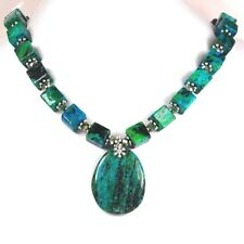 Blue/Green Chrysocolla Large Pendant Silver Statement Toggle Necklace 20""
