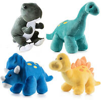 Plush Dinosaurs 4 Pack 10'' Long Great Gift for Kids Stuffed Animal  Combo Pack
