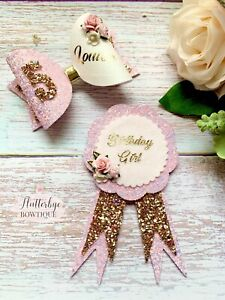 Personalised Birthday Set, Celebration Rosette And Matching Age Bow