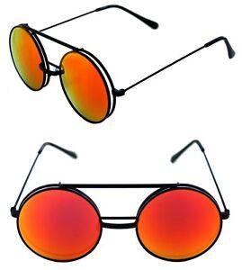 Men's Women's Round Shape Flip up Django Metal Black Sunglasses Red Mirrored