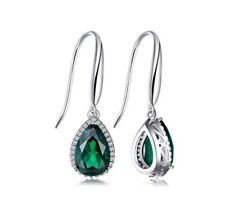 White gold finish Green emerald and created diamond pearcut droplet earrings
