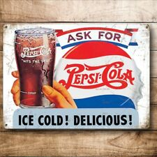 Ask For Pepsi Cola, Retro Soft Drink Advertising, Small Metal Steel Wall Sign