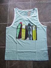 BNWT Men's Rivers Slim Fit White Surfboards Muscle/Tank/Singlet Top/Shirt Size L