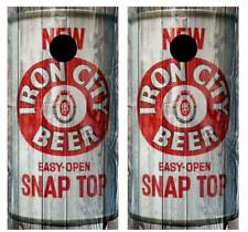 Vintage Iron City Beer - Beer Can Barnwood Cornhole Board Wraps #2504