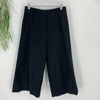 COS Dress Pants Womens Size 8 Black Wide Leg Stretchy Crop Trousers High Waist