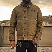 NON STOCK US Navy N-1 Deck Jacket Winter Men's Military Style Cotton Coat Khaki