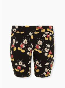 Torrid Disney Mickey Mouse Cotton Stretch Black Bike Legging Shorts NWT New 1X