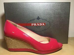NEW PRADA Pink Patent Leather Platform Wedge Sandal Peep Toe Shoe EU 39 US 8.5