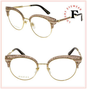 GUCCI SYLVIE Stripe 0285 Gold Nude Glitter Metal Optical Eyeglasses GG0285S 50mm