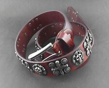 Mens Goth Skull Cross Vintage Red Genuine Leather Belt Biker Rock