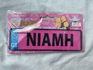 Embossed Metal ID Plate for Bike Door Locker Scooter etc ''NIAMH''Pink New