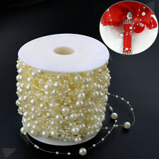 Roll of 60m Acrylic Pearl Bead Hanging String Bouquet Garland Wedding Decoration
