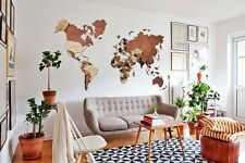Wooden World Map Wall Map Wood Wall Art Home Decor Travel Rustic Map M Size