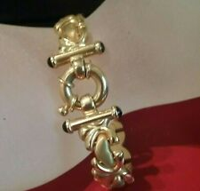 Fancy 14K Solid Gold Heart & Kiss Links Toggle Clasp Bracelet  Made In ITALY