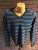 J. Crew Men's 100% Lambswool Blue/Green Striped V Neck Long Sleeve Sweater J4-5