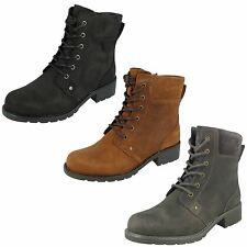 Ladies Clarks Orinoco Spice Leather Lace Up & Zip Casual Ankle Boots