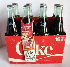 Vtg 70s Coca Cola 8 Pk 16 oz Bottle w Soda & Carton Peel A Fortune Game Cap +Tag