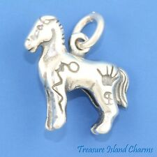 PAINTED WAR HORSE PONY NATIVE AMERICAN INDIAN 3D .925 Sterling Silver Charm
