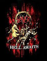 SLAYER cd cvr HELL AWAITS BLOOD Official Black SHIRT Size SMALL new