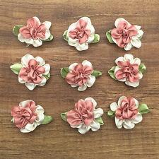 10pcs Beige&Brown Fancy 2 tone Satin Ribbon Flower Leaf Decoration Applique NEW