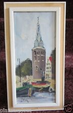 L. Ros signed original mid century European plein air church painting EC framed!