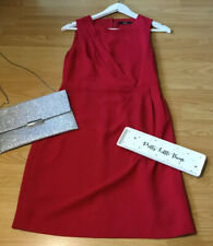 Oasis Sz 8 Red Drape Midi Dress Smart Party Occasion