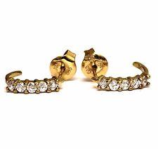 10k yellow gold womens cubic zirconia half hoop cz earrings vintage estate 1.3g