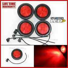 "(4) Red 2"" Round 1 LED Side Marker Clearance Trailer Truck Light Optronics Fleet"