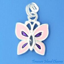 Enamel Pink Butterfly with Purple Crystal Body 925 Solid Sterling Silver Charm