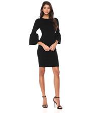 TED BAKER YANSIAA BELL SLEEVE BLACK RIBBED SHEATH DRESS sz 2/ US 6