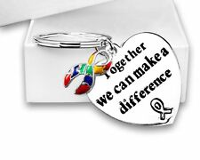 Autism Awareness Ribbon with Together/Difference Quote Heart Key Chain