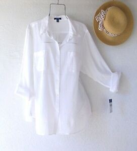 New~$65~White Button Front Cotton Blouse Shirt Summer Boho Plus Size Top~1X
