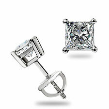 1.05Ct Princess cut Solitaire Stud Earrings Lab Diamond 14k White Gold Screwback