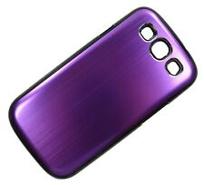 Brushed Aluminium Back Plate Hard Case Cover Purple For Samsung Galaxy S3 i9300