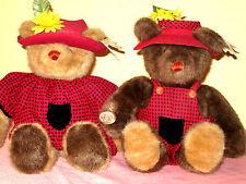 """Gund Bears, Bear Tales  Farm Boy & Girl Bears 14"""" dated 1985"""