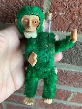 "RARE TERRIFIC 1930's SCHUCO 12CM 5"" GREEN MOHAIR PERFUME JOINTED MONKEY NR"