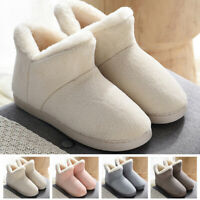 Womens Mens Pull On Outdoor Slippers Shoes Winter Warm Indoor Ankle Snow Boots