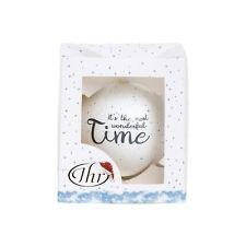 IHR Christmas Santa Best Friend Reindeer Large White Snow Glass Bauble Gift Idea